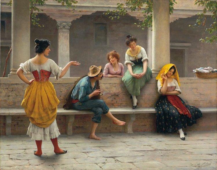 'Gossip'_by_Eugen_von_Blaas,_1903